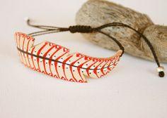Leather Bracelet  adjustable Feather tribal boho por vickygonart, $26.00