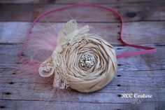 champagne and pink rosette headband