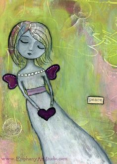 Giclee Print  5 x 7 Whimsy Angel Fairy Girl by epiphanyartstudio, $13.00