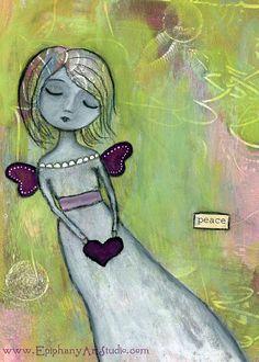 Giclee Print  5 x 7 Whimsy Angel Fairy Girl by epiphanyartstudio, $13.00