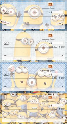 Whether your favorite Minion is Stuart, Kevin or Bob, you can now have them all on select personal check designs, address labels, covers and stamps. You'll be sure to smile at every glance. Order the entire set for yourself today.