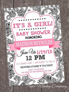 Black and White Floral It's a Girl Baby Shower by PMCInvitations, $1.00