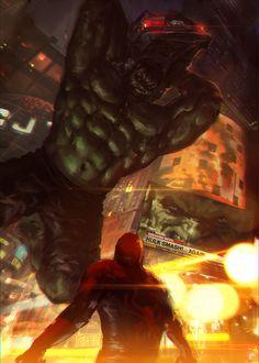 #Hulk #Fan #Art. (Hulk vs Spiderman) By: Memed.