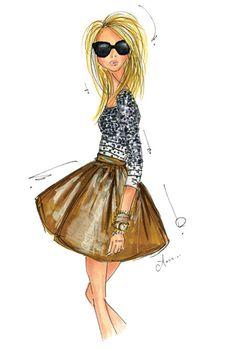 Fashion Illustration Print, Stripes and Sequins Artist Anum Tariq USA