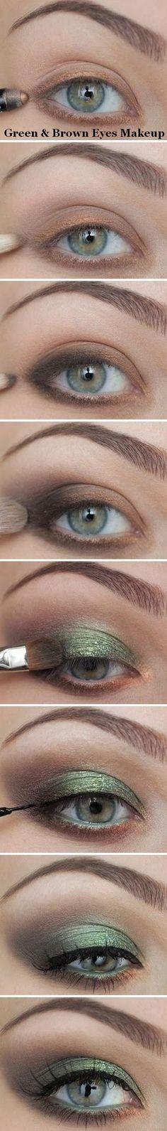Green & brown eyes makeup.