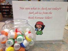 A Book Fortune Teller...perfect for kids who are having a difficult time finding their next book. Inside each  vending machine bubble is a book suggestion. :)