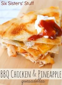 BBQ Chicken and Pineapple Quesadillas Recipe from MyRecipeMagic.com are so quick and easy for your family dinner! #quesadilla #bbq #chicken #pineapple