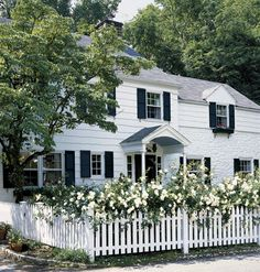 Colonial Revival - White clapboard siding, operable shutters, a picket fence with roses adds romance and charm to this classic.