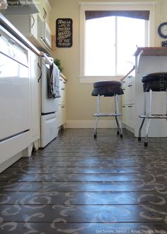 Stenciled floor by Inspire me Heather | Sea Scrolls Stenci by Royal Design Studio