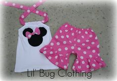 Custom Boutique Clothing Bubble Gum Dots Minnie Mouse Short Set on Etsy, $34.50