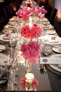mirrored table setting.