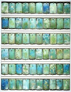 Faience wall tiles from the step pyramid at Saqqara, Egypt, c.2690-2670 BCE. The tiles were strung together and plastered onto the walls in the funerary apartment of King Djoser.