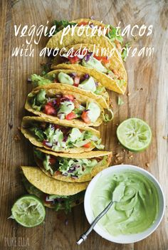 lime cream, avocado lime, protein taco
