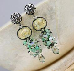 Mint Julep  Gemstone & Glass Lampwork Earrings by JewelsByLDesigns, $120.00