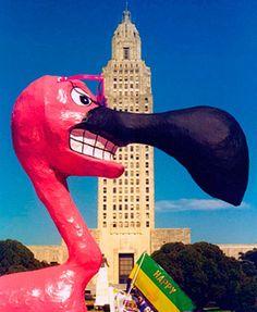 Baton Rouge Spanish Town Parade with Flamingo for Mardi Gras