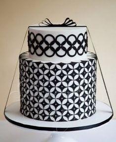 modern cake, graphic, art deco wedding, cake wrecks, black white, white weddings, white cakes, artdeco, white wedding cakes
