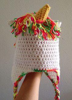 Crochet Unicorn Headband : Hand Crocheted Childrens Unicorn Hat on Etsy, $22.00