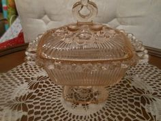 Vintage Indiana Lace edge pink candy dish
