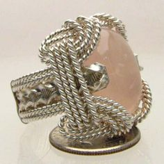 Handmade Sterling Silver Wire Wrap Rose Quartz Ring, $275.00