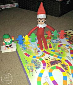 Elf on the Shelf playing the game Candy Land with some of his best Elfin friends....Just A Little Creativity: