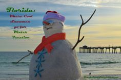 Snowman takes Florida Winter Vacation
