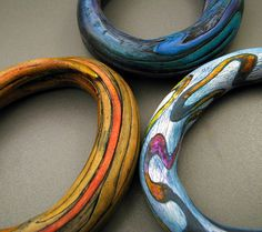 Claire Maunsell's hollow bangles with her incredible detailing. hollow bangl, polym clay, polymer clay, clay bracelet