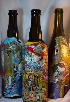 Hand painted upcycled beer bottle
