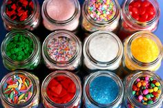 sprinkl, candi, colorful candy, mason jars, parti