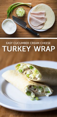 Cucumber Cream Cheese Turkey Wrap