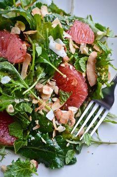 kale grapefruit and coconut salad