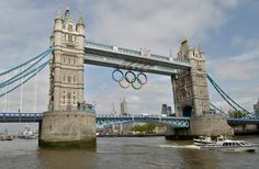 New set of Olympic Rings installed on London Bridge for upcoming Olympic games.