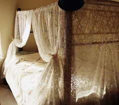Lace bed curtains