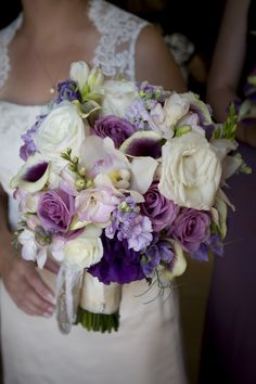 Violet and ivory Bride's Bouqet for a Flower Gallery of Asheville Wedding  #wedding #flowers #Bride #bouquet