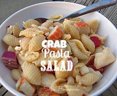 Crab Pasta Salad: I used bowtie noodles instead of shells and mozarella cheese balls instead of feta and it was still good! glorious food, pasta salad recipes, food glorious, crab pasta, healthi food, healthy pasta crab salad, pastas, salads, crabs