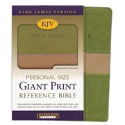 KJV Personal Size Giant Print Reference Bible, imitation leather, tan/olive - Imperfectly Imprinted Bibles