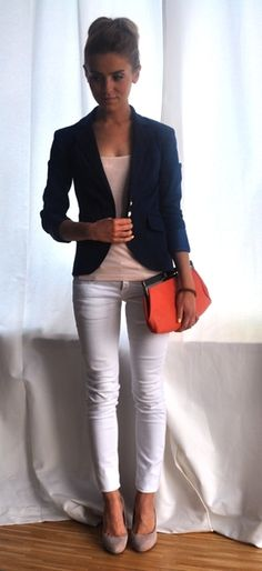 navy blazer + white pants + nude tee & pumps + coral clutch