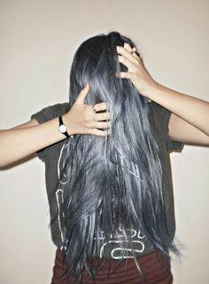 LONG gun metal silver hair..is everything