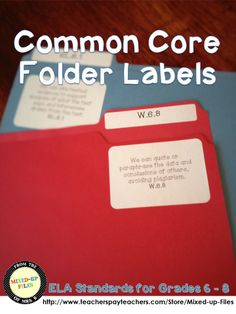Organize your classroom resources for Common Core with file folder labels for each ELA standard. ($1) -- I saw this on Pinterest for 2nd grade and had to have it for my middle school classroom!