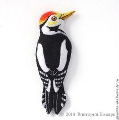 """Brooch """"Woodpecker"""". Needle Felting"""
