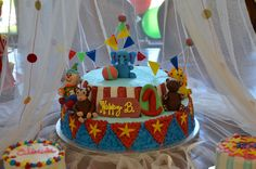 Circus / Carnival Cake - O & E's Cake - no room to write happy birthday, so it was a Happy B. ;-)