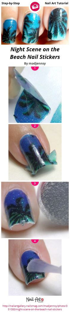 Night Scene on the Beach Nail Stickers by madjennsy from Nail Art Gallery