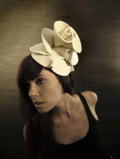 Cream Felt Hat - Lotus Fountain Hat - Made to Order.  via Etsy.