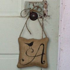 burlap...love it! burlap door hangers, wrap gifts, gift wrapping, letter, monogram, wrapping gifts, burlap pillows, diy gifts, handmade gifts