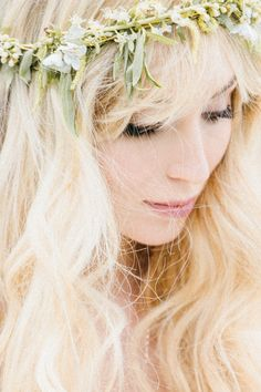 delicate floral crown, lush lashes