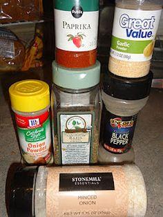 "LeeLee's Salt Free ""Essence""....  1 T Garlic powder, 1 T Onion powder, 11/2 tsp. Black pepper, 1 T Minced Onion, 2 Tsp. Basil, 2 tsp. Paprika.....Trial and Error .. add or delete what you  like the most!"