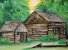 Reflection of the Past the little Log Cabin located behind Besser Museum ~  Art work by Rita Stevens 2013