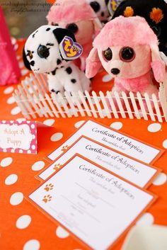 Adopt A Puppy- Party Favors. Doing this with dogs in a fence to go with the dog chow favor bags