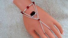 Garnet Heart Hand Chain Slave Bracelet Hand Harness by JWBoutique1, $19.00