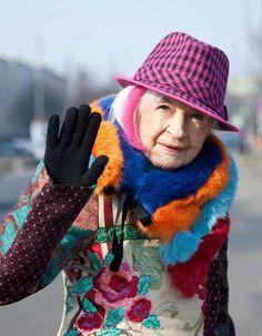 Fashion at any age.  Polish actress Danuta Szaflarska, 98 yrs young