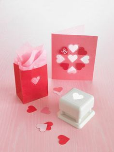 Martha Stewart Crafts Heart and Dots Punch All-Over Card and Bag